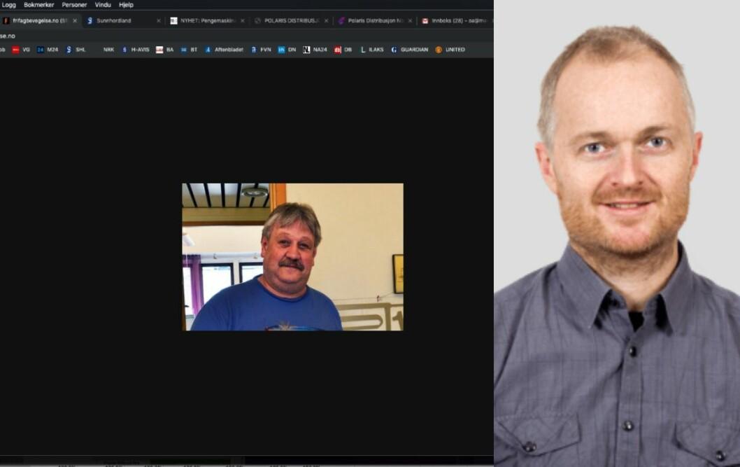 Til venstre er framsida til FriFagbevegelse.no. Til høgre er redaktør Frode Rønning.