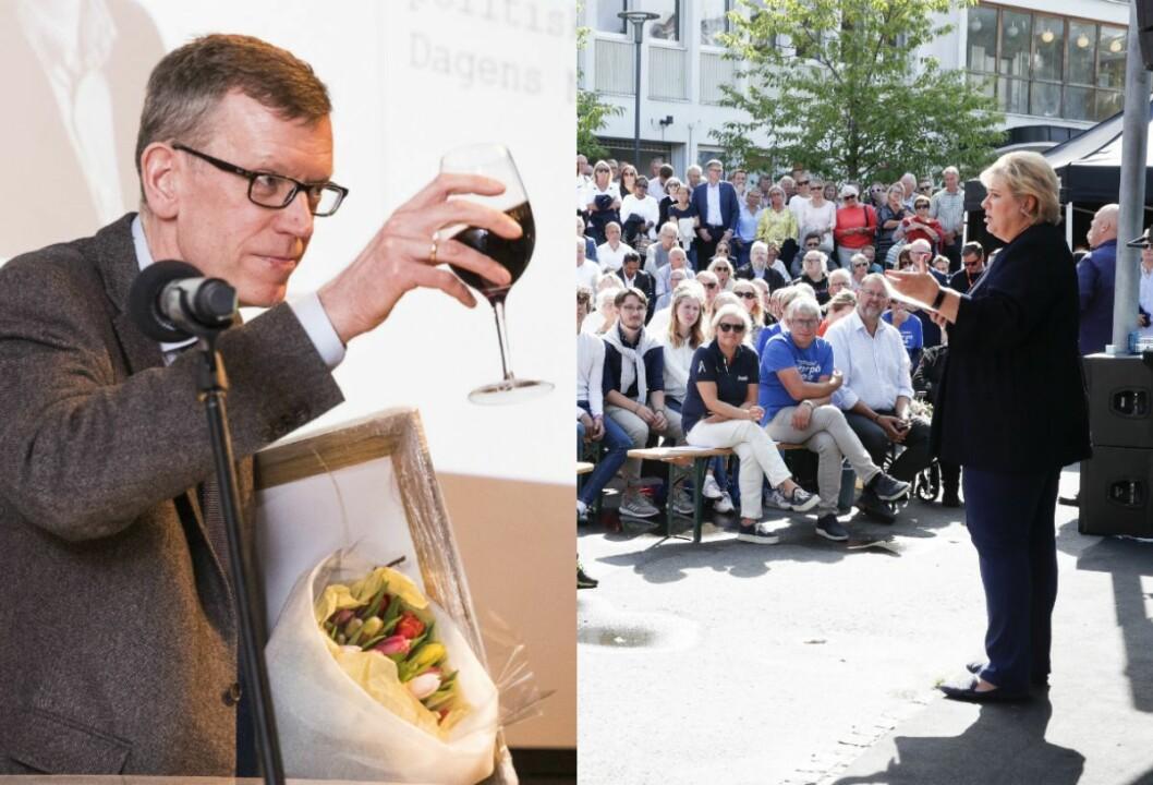 Til venstre er politisk redaktør Kjetil B. Alstadheim frå då han vart kåra til Årets redaktør under Oslo Redaktørforening sitt årsmøte i fjor vår. Til høgre er statsminister Erna Solberg på Høgre sin partitime på Kanalplassen i Arendal i fjor.