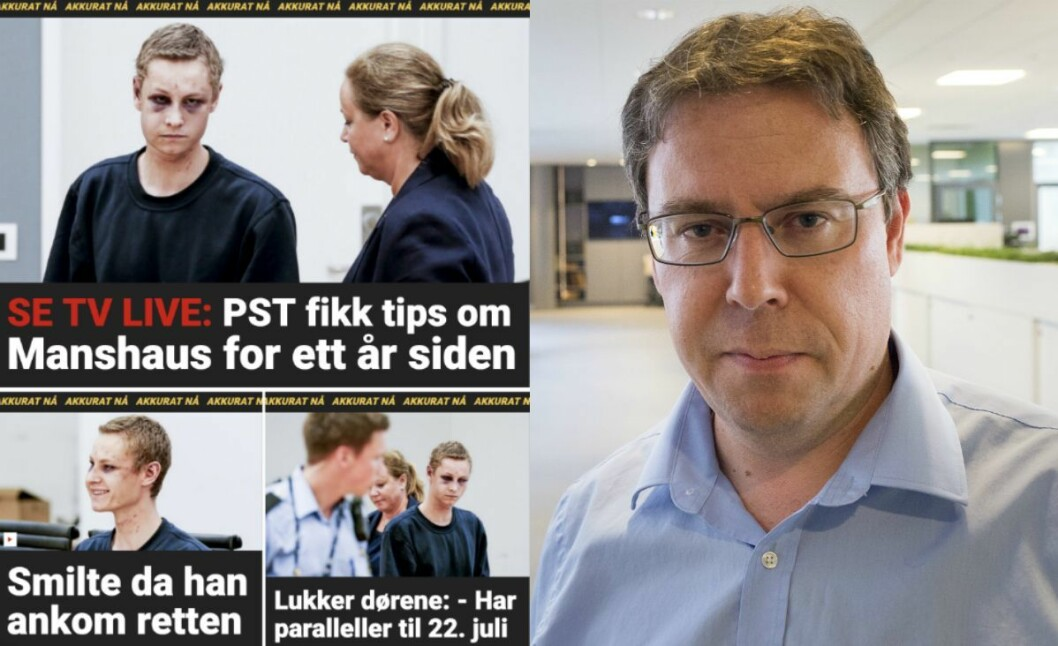 Til venstre: Skjermdump av Dagbladet-fronten måndag. Til høgre er nyheitsredaktør Frode Hansen i Dagbladet.