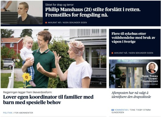 Skjermdump av Aftenposten-fronten måndag.
