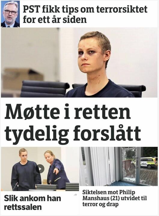 Skjermdump av NRK-fronten måndag.