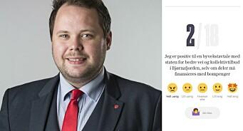Politikar sterkt ut mot VG-valgomat: Meiner avisa tek feil om bompengar