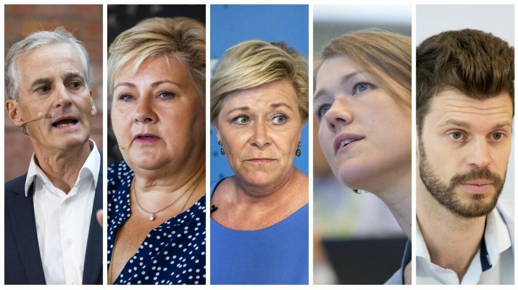 Jonas Gahr Støre, Erna Solberg, Siv Jensen fronter partiene øverst på omtalelisten, mens Une Bastholm og Bjørnar Moxnes må nøye seg med bunnplassene.