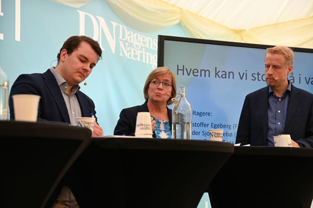 Espen Teigen, Hanne Relling Berg og Kristoffer Ekeberg deltok i onsdagens debatt.
