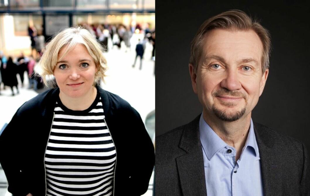 VG-kommentator Tone Sofie Aglen og mediekritiker Trygve Aas Olsen.