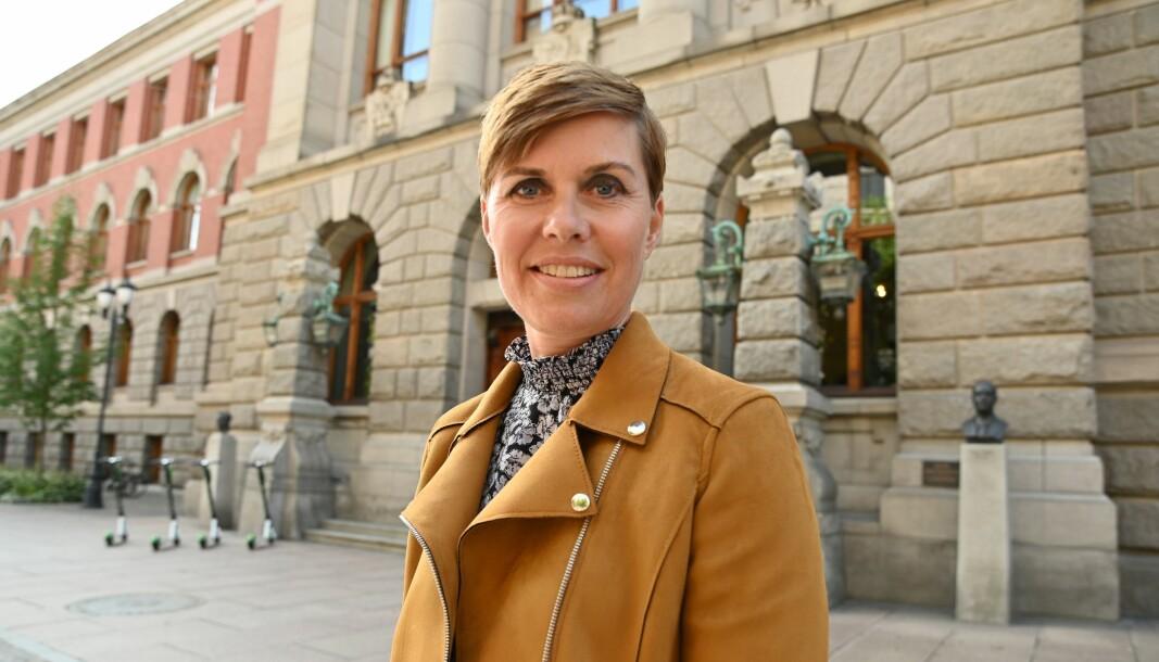 Norsk Journalistlags medierettsadvokatIna Lindahl Nyrud utenfor Høyesterett.