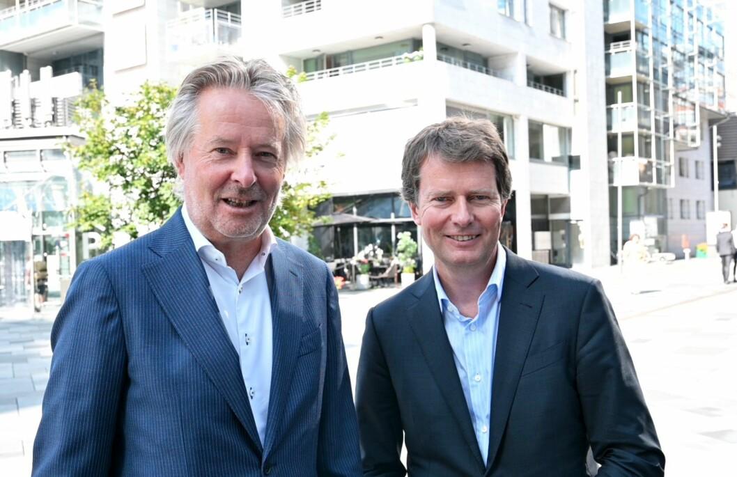 Styreleiar Torry Pedersen og konsernsjef Per Axel Koch i Polaris Media.