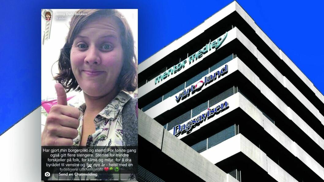 Journalist Jenny Dahl Bakken i Vårt Land innfelt fra Snapchat på et bilde av bygget der Vårt Land holder kontorer i Oslo sentrum.