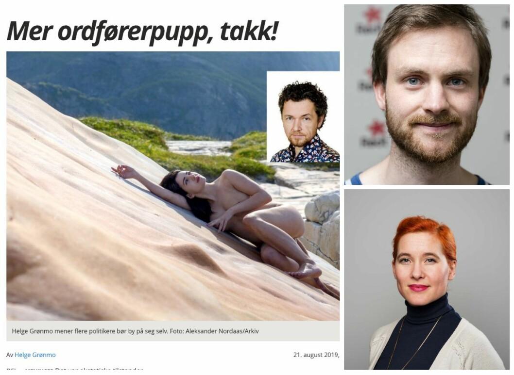 Faksimile av Helge Grønmos kommentar i Avisa Nordland, som får Rødts kommunikasjonsansvarlig Iver Aastebøl og Rødt-politiker Charlotte Therkelsen Sætersdal til å reagere.