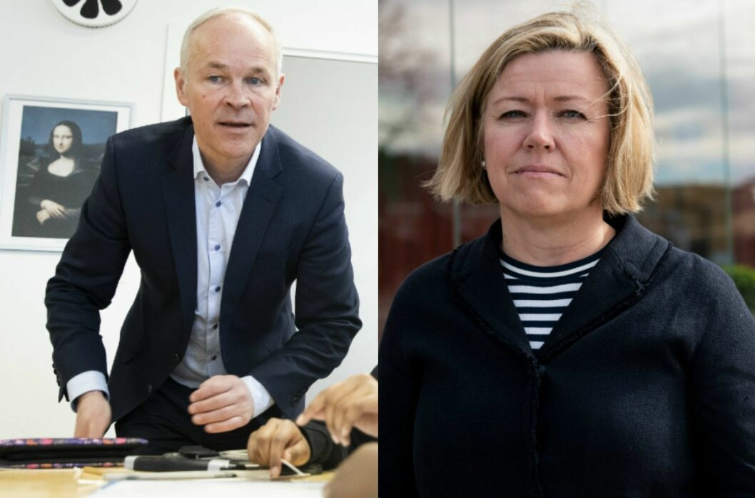 Kunnskaps- og integreringsminister Jan Tore Sanner (H) og nyheitsredaktør Tone Tveøy Strøm-Gundersen i Aftenposten.