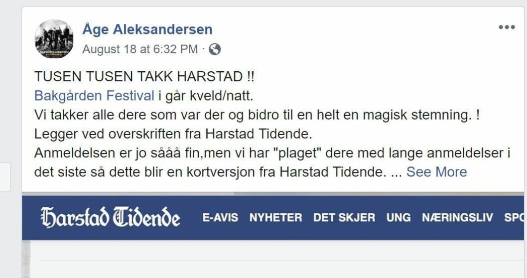 Faksimile fra Åge Aleksandersens Facebook.