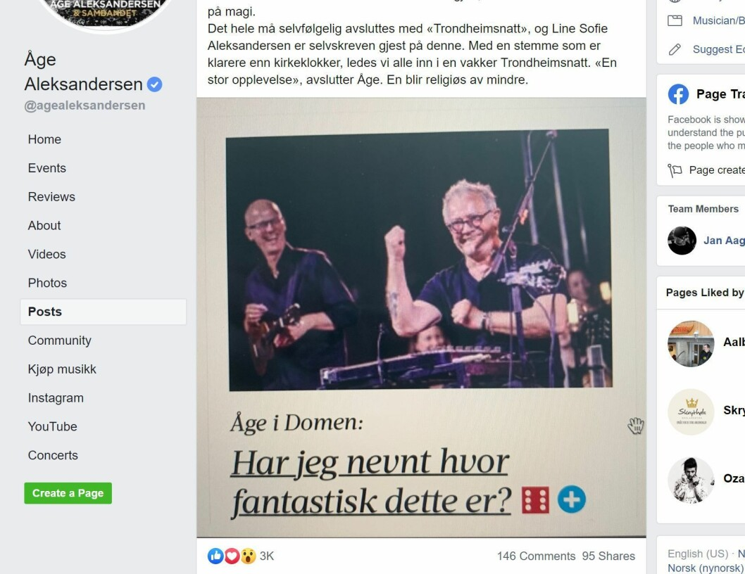 Faksimile Facebook-siden til Åge Aleksandersen, med bildet fra Adresseavisen.
