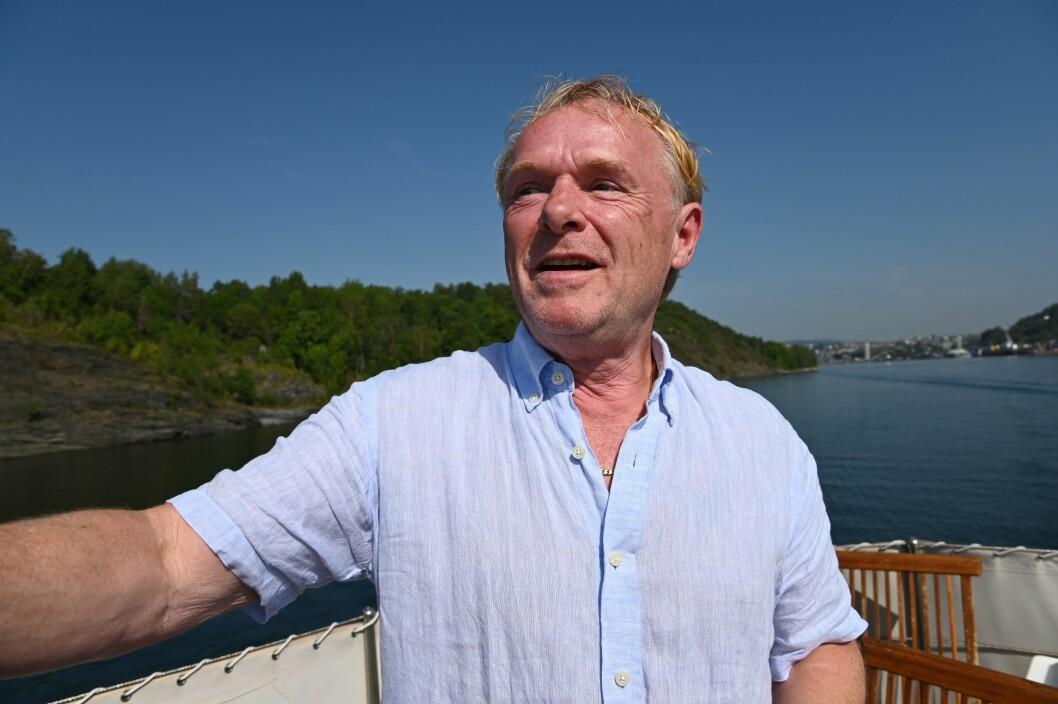 Per Sandberg på TV 3s høstlansering i Oslofjorden.