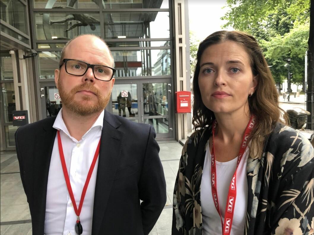 Sjefredaktør Gard Steiro i VG og nyheitsredaktør Tora Bakke Håndlykken i VG.