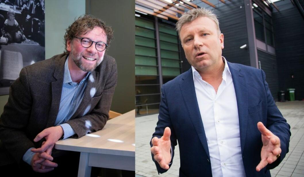 Alf Gjøsund (til venstre) mener Vebjørn Selbekk gikk for langt i sin omtale av en muslimsk kvinne håndhilse-nekt.
