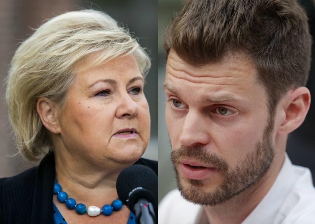 Statsminister Erna Solberg (H) og Rødt-leiar Bjørnar Moxnes.