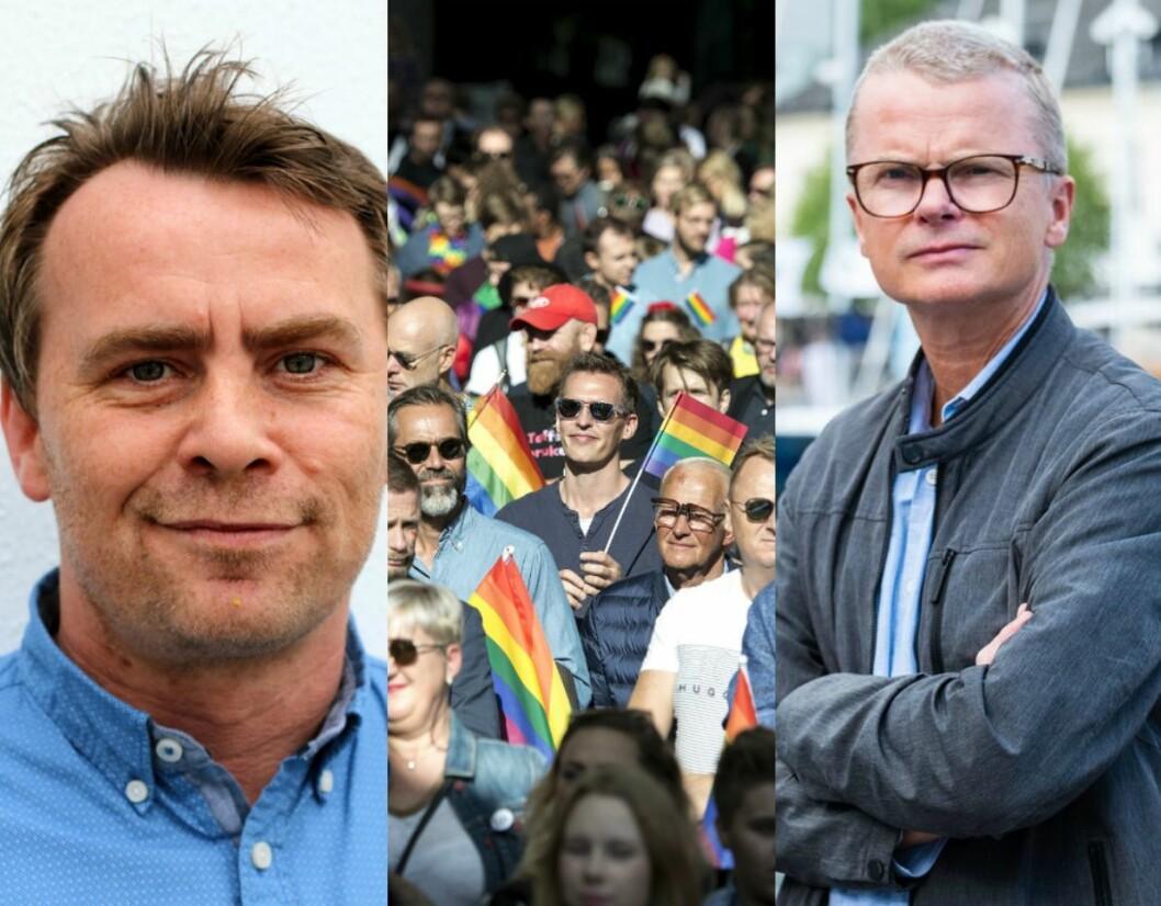 Dagleg leiar i Brodd IL, Øyvind Jacobsen, Pride-paraden i Stavanger i fjor, og sjefredaktør i Stavanger Aftenblad, Lars Helle.
