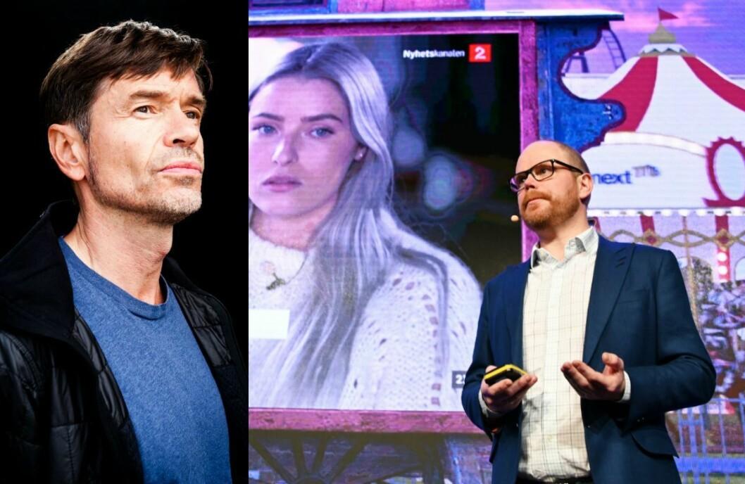 Sosiolog og samfunnsdebattant Kjetil Rolness til venstre og sjefredaktør Gard Steiro i VG til høyre.