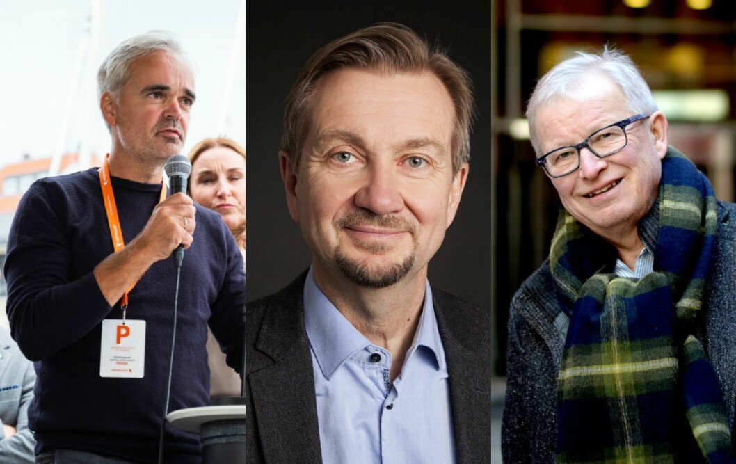 Sjefredaktør Eivind Ljøstad i Fædrelandsvennen, mediekritiker Trygve Aas Olsen og spaltist Bernt Olufsen.