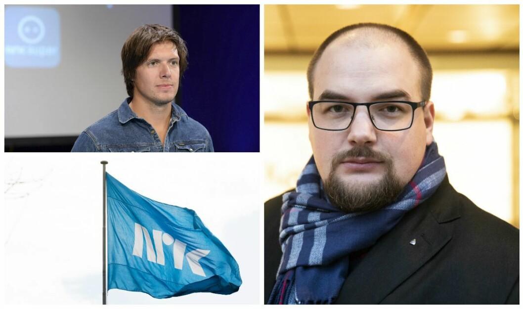 Programleder Andreas Wahl i Folkeopplysningen og Erik Waatland, redaktør i Medier24.