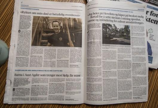 Torsdagens utgave av Agderposten med leserinnlegg.