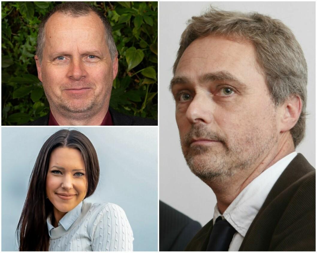Jon Lurås i Løten MDG, Hilde Mari Bjørke i Løten SV og sjefredaktør Carsten Bleness i Hamar Arbeiderblad.