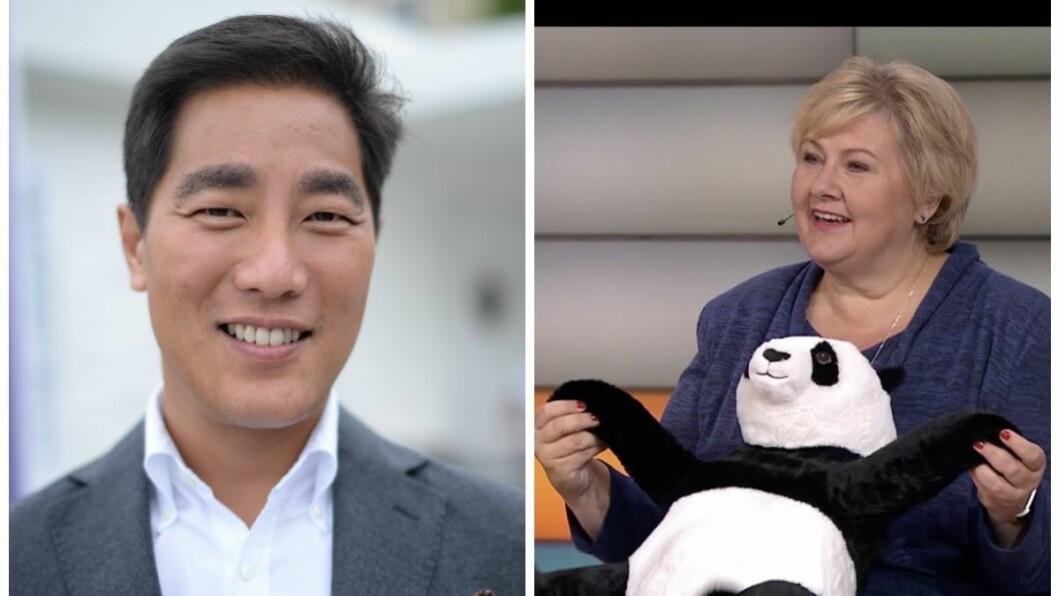 Programleder Fredrik Solvang vil be partilederne danse med en panda om de snakker i munnen på hverandre. Her er Erna Solberg fra NRK Supernytts partilederdebatt.