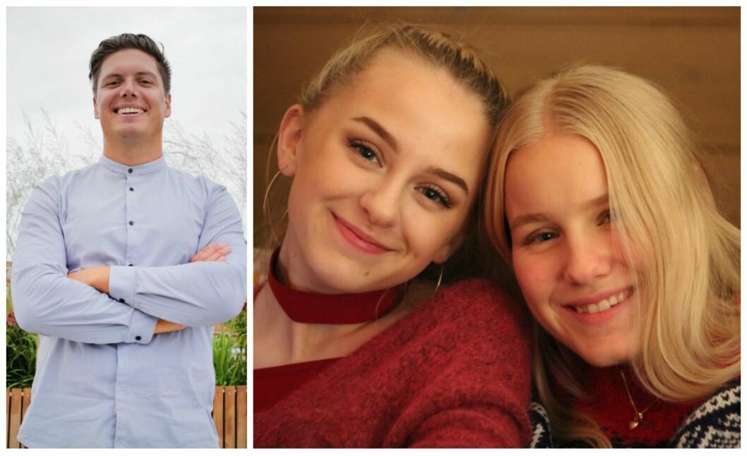 NRK-programleder Andreas Wahl og Marion Isabell Stærfelt (17) og Helle Erica Hartløv (17)