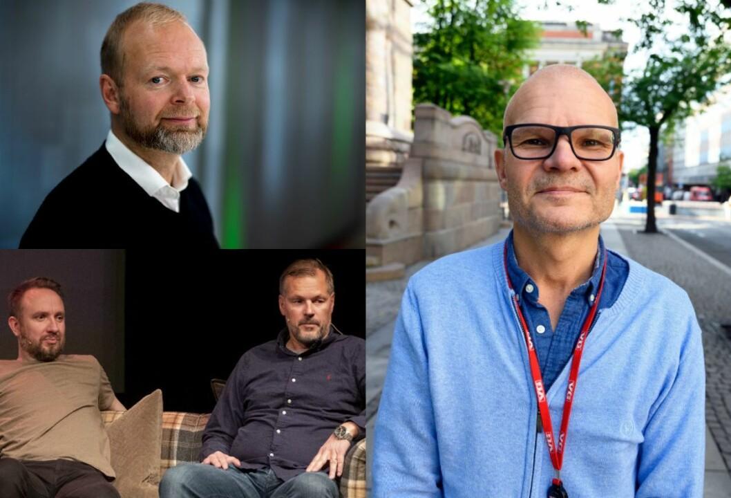 Sportssjef Vegard Jansen Hagen i TV 2, fotballekspertane Bernt Hulsker og Kjetil Rekdal i VGTV sitt «Foppall» og VGTV-redaktør Rolf Sønstelie.