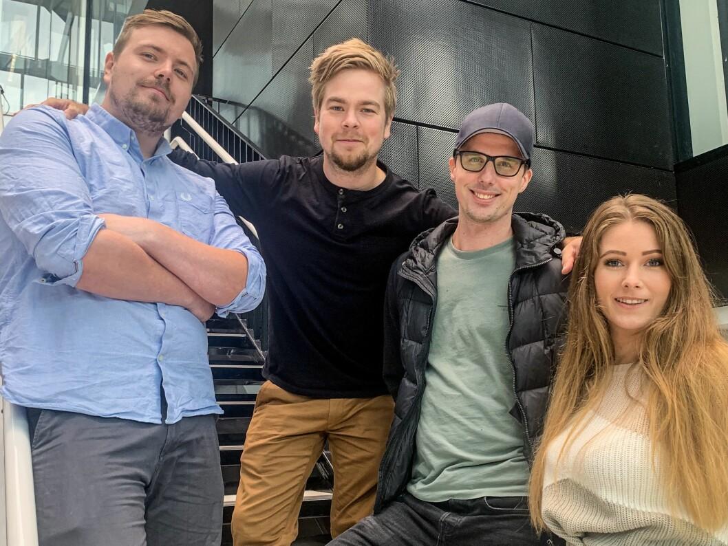 TV 2 Sportens nye e-sport-team: Ola Solheim (fra venstre), Simen Henriksen, Halvor Gulestøl og Hege Botnen. Donya Jabari var iikke tilstede da bildet ble tatt.