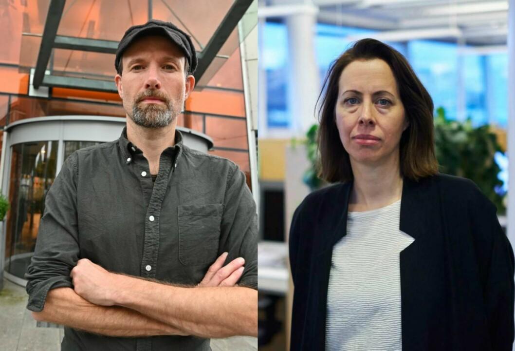 Klubbleder Jo. T. Gaare og sjefredaktør Anna B. Jenssen i Morgenbladet.
