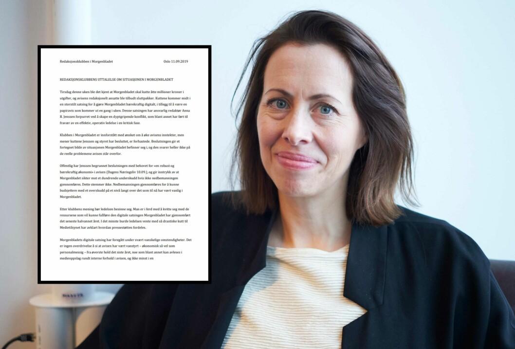Ansvarlig redaktør Anna B. Jenssen i Morgenbladet. Brev innfelt.