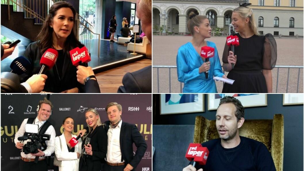 Aller Medias mikrofonhette skaper reaksjoner. Her fra ulike settinger der kjendiser blir intervjuet.