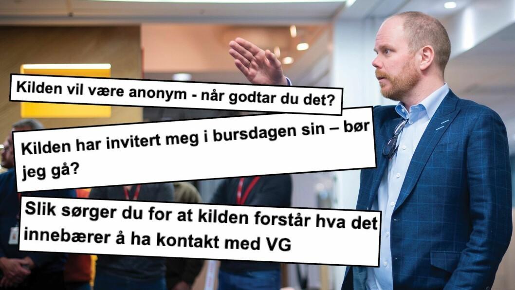 Sjefrdaktør Gard Steiro i VG og utdrag frå VG sin nye kjeldemanual.