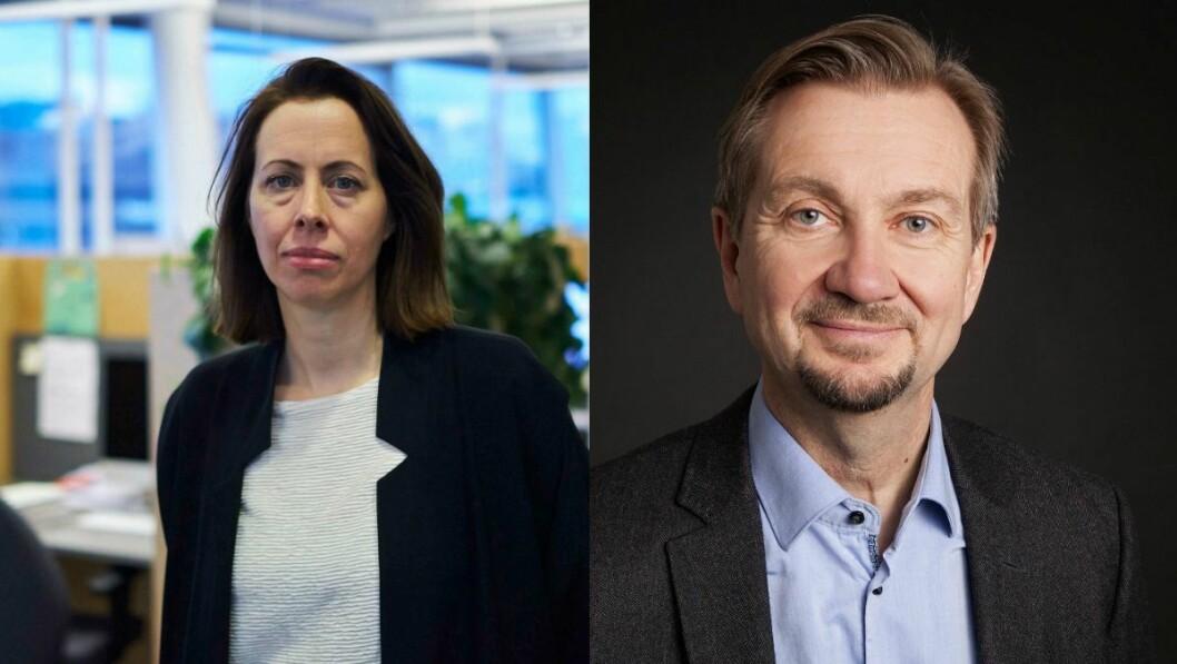 Ansvarlig redaktør Anna B. Jenssen i Morgenbladet og mediekritiker Trygve Aas Olsen.