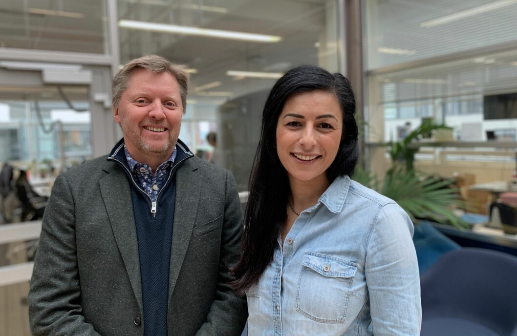 Thomas Hovde, salgssjef for bedriftsmarkedet i Schibsted, og Panthea Fereidoni Tonna, KAM og forretningsutvikler for bedriftsmarkedet i Schibsted.