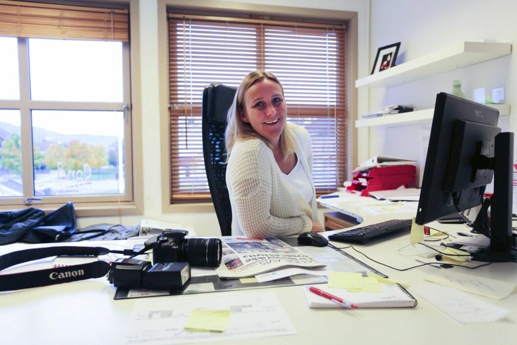 Redaktør Hege Frostad Dahle i Sande Avis.