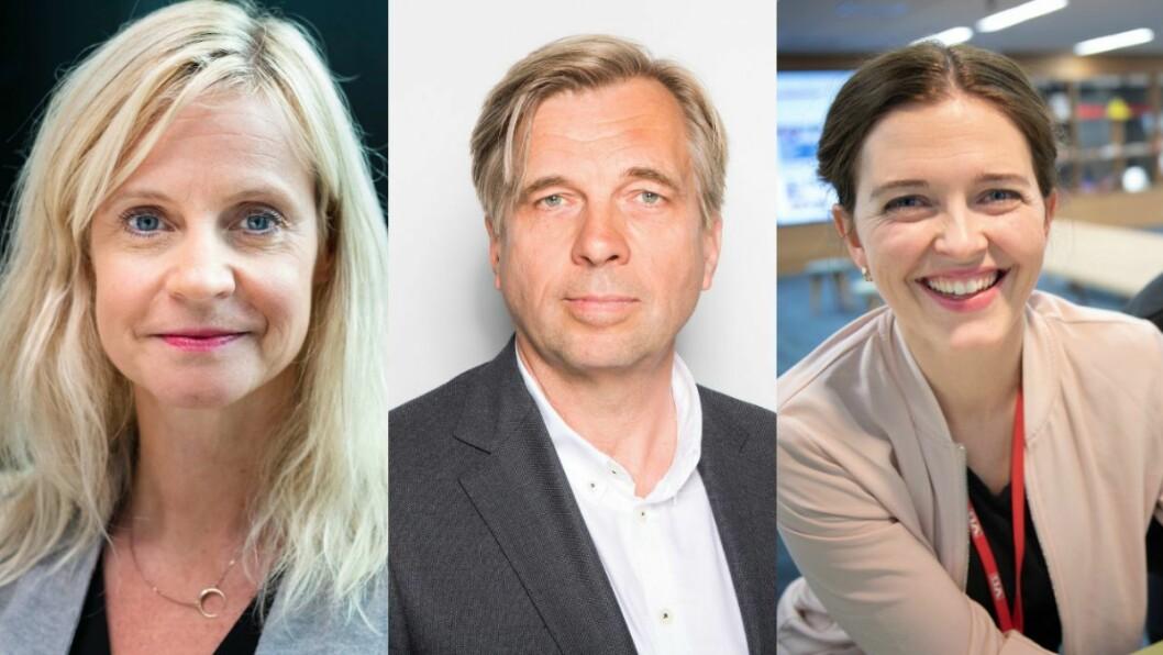 Nyhetsredaktør Karianne Solbrække i TV 2, utviklingsdirektør Geir Terje Ruud i NTB og nyhetsredaktør Tora Bakke Håndlykken i VG.