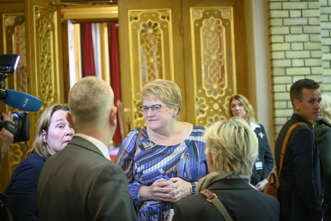 Kulturminister Trine Skei Grande (V) på budsjettdagen 2019.