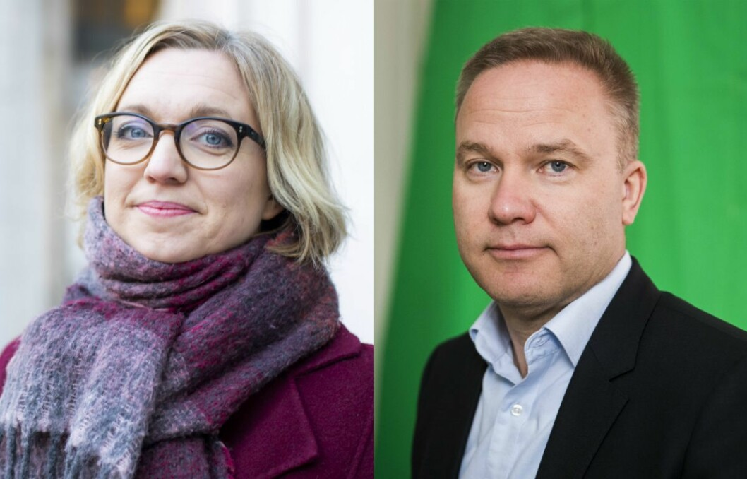 Nyhetsredaktør Sarah Sørheim i NTB forteller at de ikke har en policy mot å sitere Resett. Til høyre: Helge Lurås.