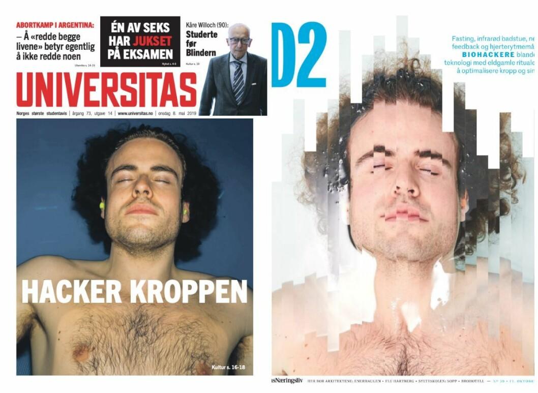 Forsidene til Universitas 8. mai (til venstre) og D2 11.oktober er påfallende like.
