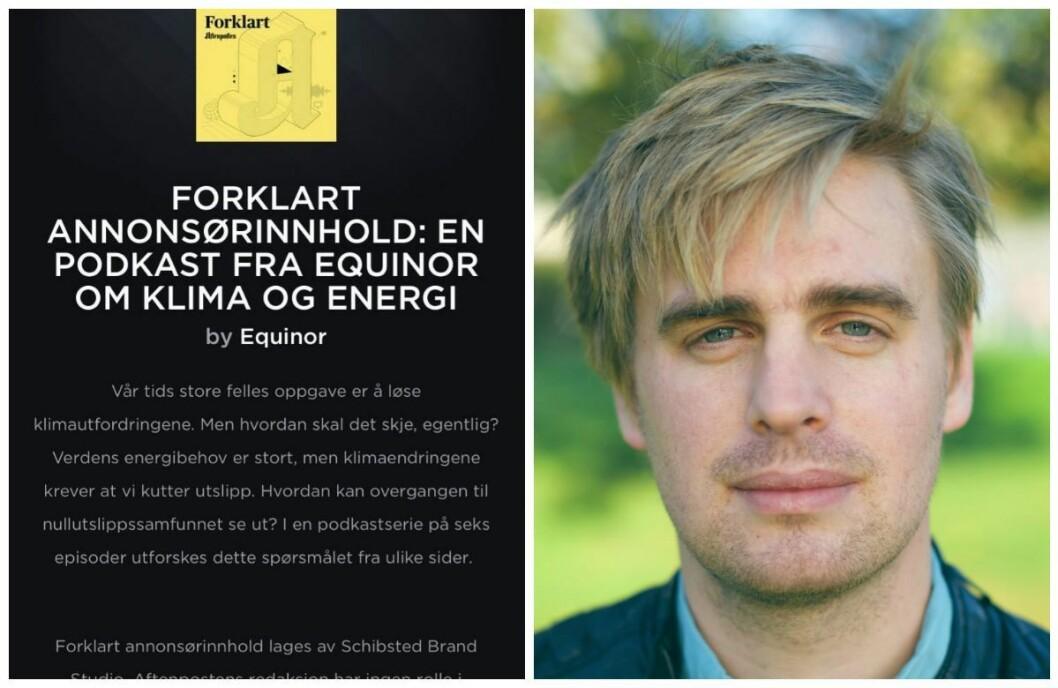 MDG-politiker Eivind Trædal reagerer på Equinors annonsering hos Aftenpostens Forklart-podkast.