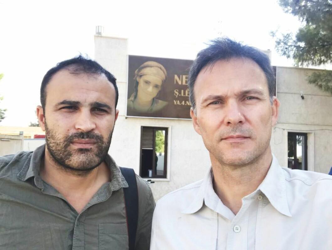 Ashfin Ismali (t.v.) og Tor Arne Andreassen måtte mandag reise ut av Syria.
