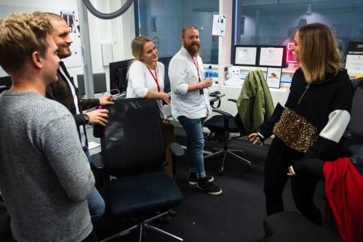 Arkivfoto fra november 2018: Deler av VGs Snapchat-redaksjon: Fra venstre: Eirik Tufteland Kroken, Bastian Lunde Hvitmyhr, Kristina Kinne, Jonathan Falck og Randi Midtskog.