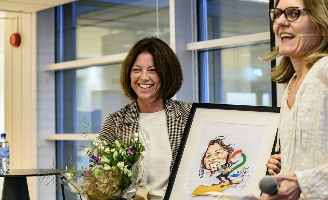 Sarah Willand i TV 2 mottok prisen for årets kvinnelige medieleder i fjor.