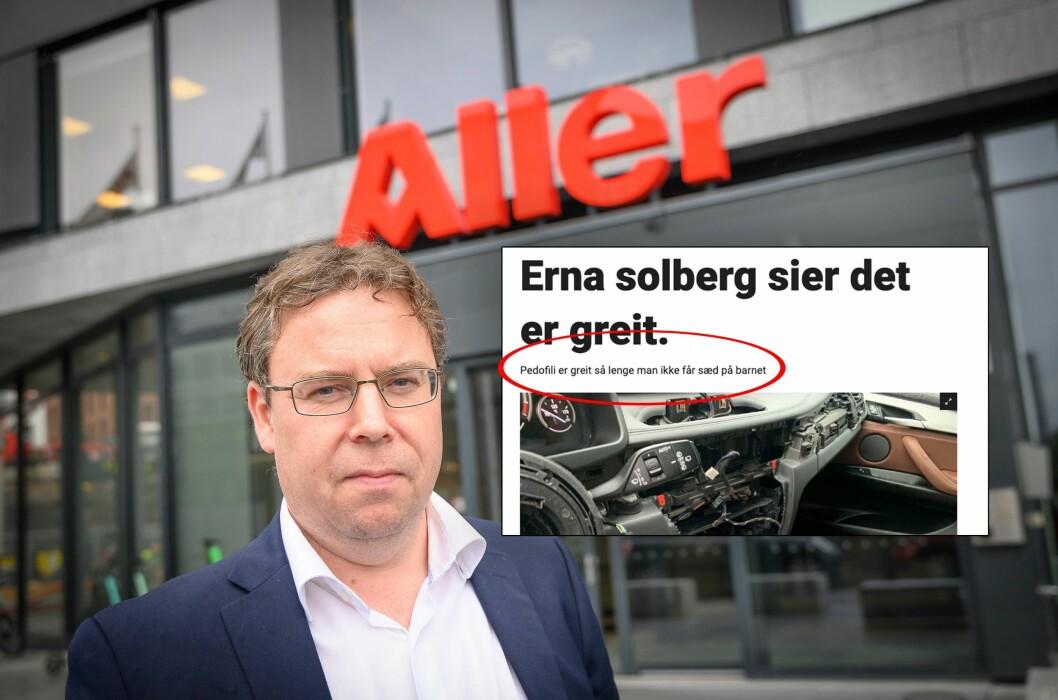Nyhetsredaktør Frode Hansen i Dagbladet. Innfelt: Artikkelen de nå har slettet innholdet i.