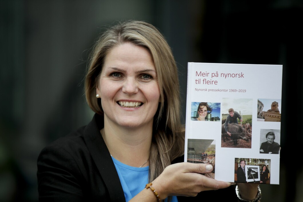 Redaktør Karoline Riise Kristiansen i Nynorsk pressekontor med jubileumsbok om NPK.Foto: Vidar Ruud / NTB scanpix