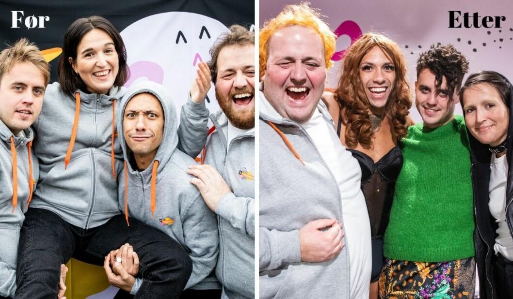 Årets programledere Markus, Adelina, Tete og Ronny før og etter 100 timer direktesending.