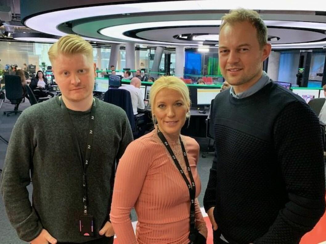 F.v. Sportsjournalistene Magnus Wikan, Trine Melheim Næss og John Christian Lundstadsveen.