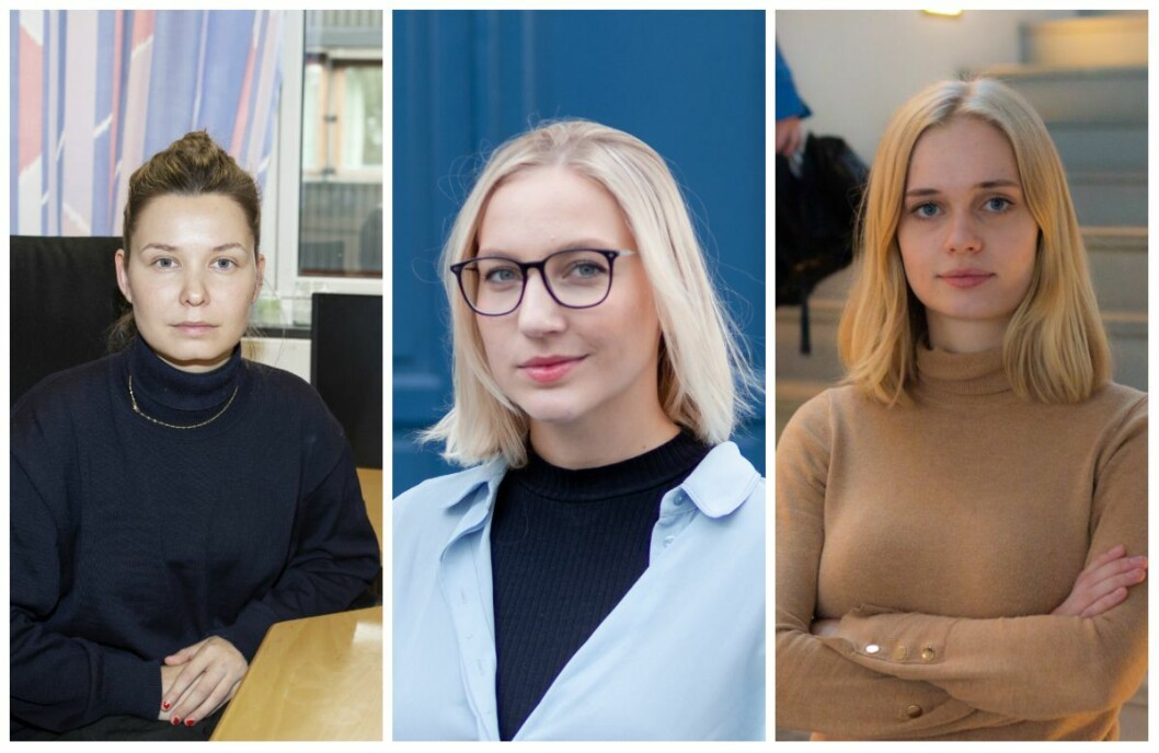 Redaktør i Universitas, Selma Joner (fra venstre), redaktør i Under Dusken, Jenny Westrum-Rein og redaktør i Studvest, Johanne Espeland må alle snu hver krone i sine budsjetter.